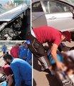 Antrenman� b�rak�p, kaza yapan otomobildeki yaral�lara ko�tular