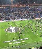 Lyon-Beşiktaş maçı öncesi tribünler karıştı