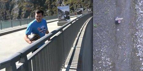 Barajın tepesinden atmayı başardı!
