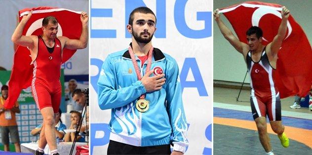 Güreş'te 3 altın madalya!