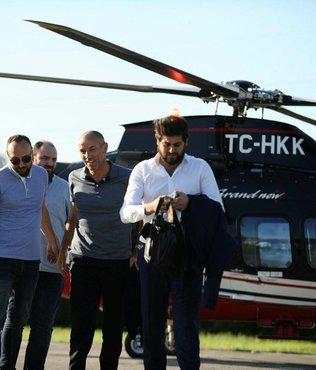 Helikopterle tesislere geldi